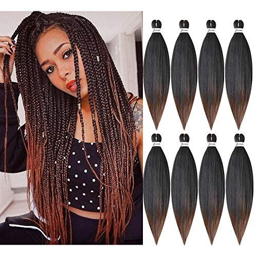 Pre-Stretched Braiding Hair Itch Free Easy Braid Professional Synthetic Yaki Texture Crochet Braids, Ombre Brown Hair Hot Water Setting 1B/30 8 Packs 26 Inch Low Temperature (26inch, 1b/30)