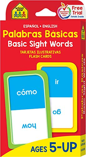School Zone - Bilingual Beginning Basic Sight Words Flash Cards - Ages 5+, Kindergarten to 1st Grade, ESL, Language Immersion, Phonics, and More (Spanish and English Edition)