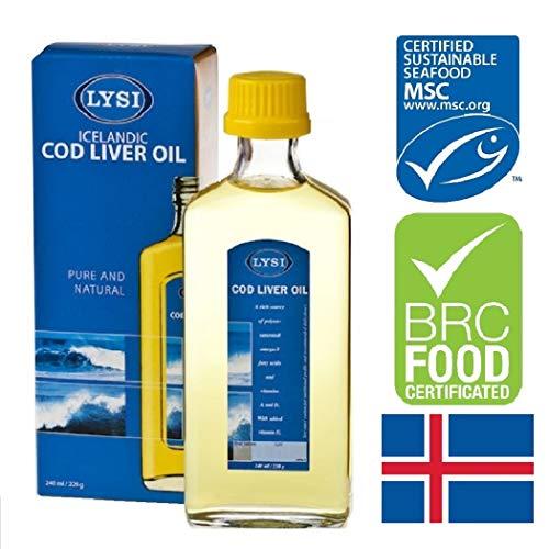 LYSI Lebertran mit hohem Omega-3-Gehalt, natürliche Vitamine A, D und E, natürlich Aroma 240ml, für das Immunsystem, höchste Qualität, kommt aus isländischen Süßgewässern