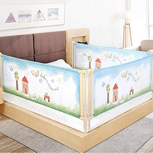 Barnsäng ledsplan baby-barn-natt ledstjärna säng tåget baby anti-fall säng länder säng bäck universal-1 st extra lång hög krustång (färg: Blå, storlek: 150 cm)