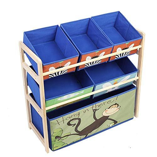 Preisvergleich Produktbild lyrlody 3 Schichten Spielzeugregal Blau Aufbewahrungsregal Spielzeugablage Kinderregal Kinderkommode Holzregal mit 6 Vlies Box,  Multi Toy Organizer für Haus und Kindergarten,  65 * 28 * 60, 5 cm