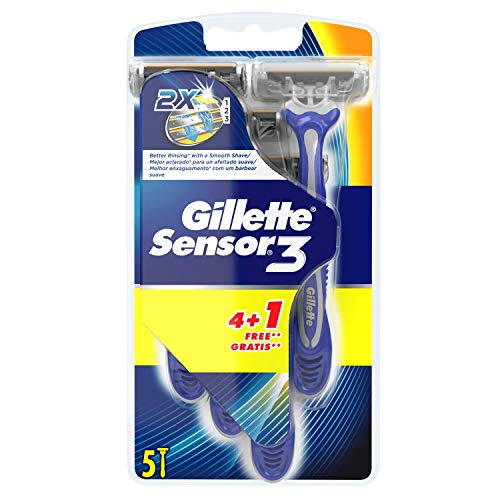 Gillette Sensor3 Maquinillas desechables para hombre, 4+1unidades