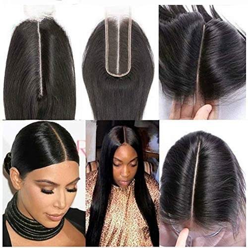 Brazilian 2x6 Lace Closure Straight 100% Remy Human Hair Middle Part Bleached Knots Lace Closure Natural Color (8inch)