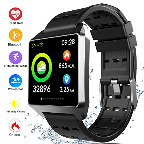 Bluetooth Smart Watch Fitness Tracker, Activity Tracker Heart Rate Sleep Monitor Message Reminder Pedometer Sport Watches Compatible with iOS Android Phones SmartWatch IP67 Waterproof for Men Women