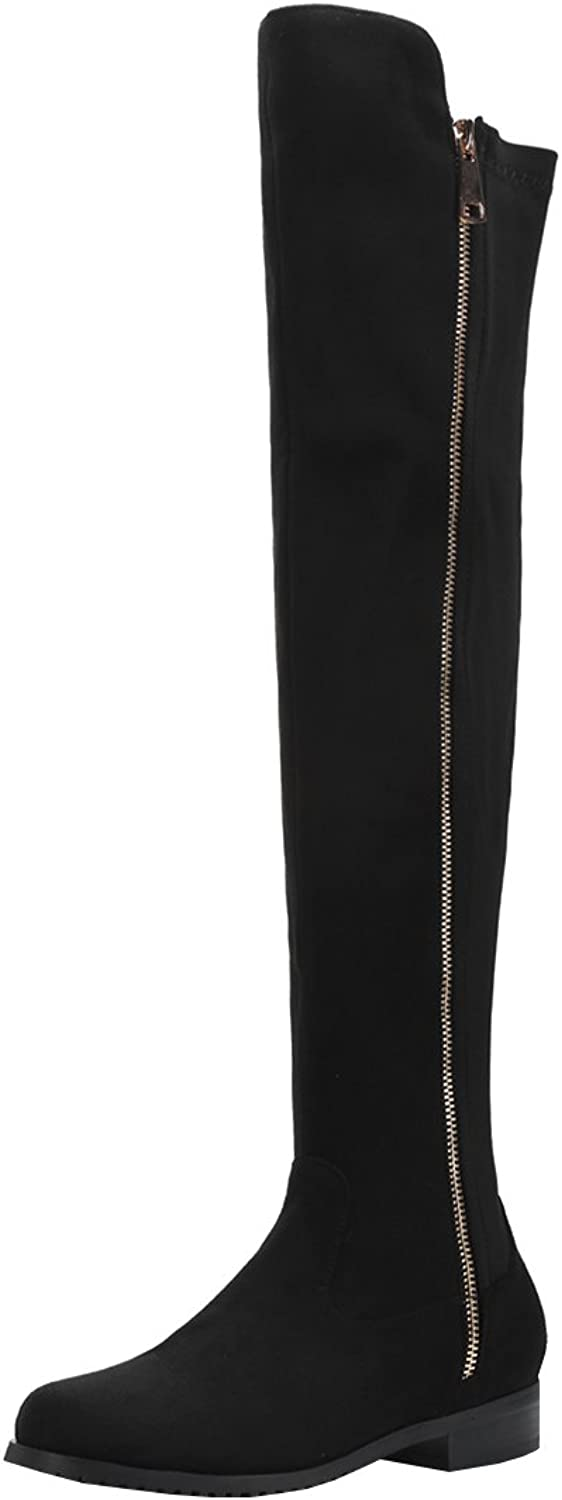 Artfaerie Women's Flat Faux Fur Lined Winter Warm Over The Knee Boots with Zip Classic shoes