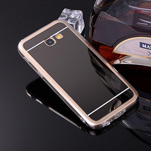 Sycode Coque Galaxy A5 2017,Galaxy A5 2017 Silicone Housse,Ultra Mince Doux Coque en Effet Miroir pour Samsung Galaxy A5 2017-Noir