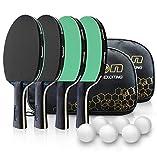 Senston Juego de 4 Jugadores de Tenis de Mesa con Estuche, 4 Raquetas de Tenis de Mesa y 6 Pelotas de Ping Pong, Juego avanzado intermedio