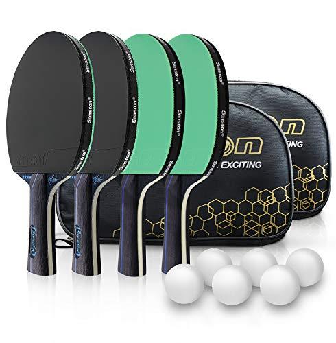 Senston Set da 4 Giocatori di Mazze da Tennis da Tavolo con Custodia,4 Racchette da Ping Pong e 6 Palline da Ping Pong, Riproduzione avanzata Intermedia