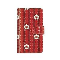[bodenbaum] DIGNO G 602KC 手帳型 スマホケース カード スマホ ケース カバー ケータイ 携帯 KYOCERA 京セラ ディグノ ジー SoftBank 梅 ストライプ レトロ フラワー f-253 (A.レッド)