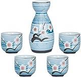 SCJ Juego de 5 Piezas de Sake, Juego de Copas de Vino de cerámica de Estilo japonés, Olla de Sake de Flor de Ciruelo Pintada a Mano, una Olla de Cuatro Tazas, Familiares y a