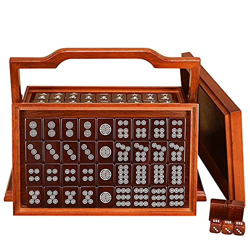 HIUHIU Natural Rojo Agate Mah-Jong Chino Numerado Mahjong Conjunto, Colección China 144 Azulejos Majiang, Fiesta/Mesa/Juego de Mesa, Regalo/Cumpleaños, (Mah-Jongg, Mahjongg,)
