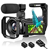4K Video Camera Camcorder, Aasonida Vlogging Camera Ultra HD 48MP WiFi YouTube Recorder with IR Night Vision Touch Screen, Digital Camera with Stabilizer, Lens Hood, Mic, 2 Batteries, Battery Charger