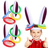 Malier 3 Set Easter Inflatable Bunny Rabbit Ears Hat with Rings Toss Funny Games for Easter Family Party Kids Games Brown