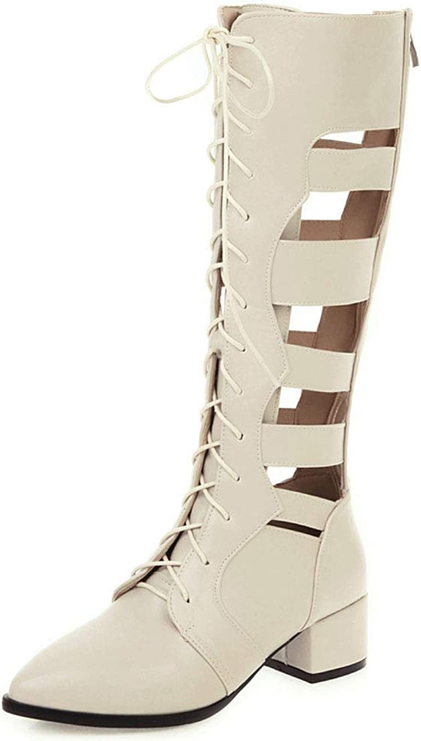 SaraIris Women's Pointed Toe Chunky Heel Sandal Boots Summer Sexy Lace Strappy Mid Calf Boots