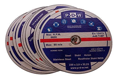 10 INOX Trennscheiben für Trenn-/ oder Winkelschleifer - Ø 230 mm Wellendurchmesser/INOX/Flexscheiben