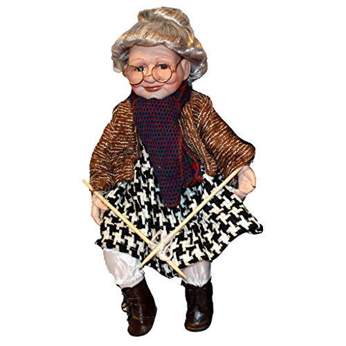 dailymall Muñeca Porcelana de Abuela con Gafas Palo de Tejer Ornamento para Hogar Escritorio 45cm