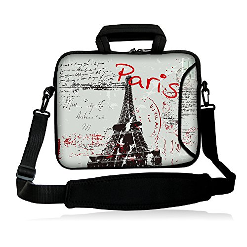 iColor 15' Laptop Bag Case Sleeve 14.1' 14.2' 15.6' Inch Neoprene Laptop Shoulder Messenger Bag 15.4' Notebook Computer Dual Zipper Case Cover Pouch Holder Pocket-Paris
