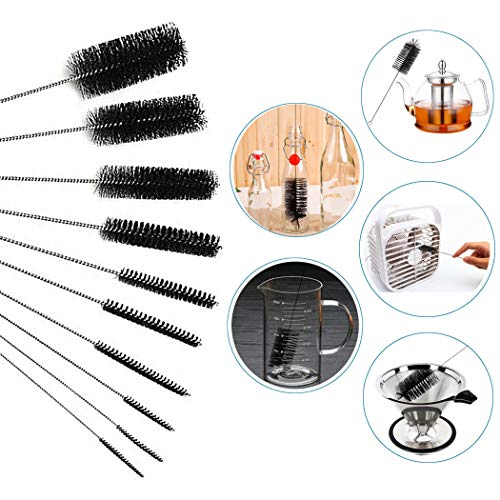 """Xubox Tube Brushes Set, 2 Pack 20 Pcs Variety of Size 8.2"""" Little Cleaning Brushes Metal Straw Cleaner Brushes Hummingbird Feeder Brushes Small Pipe Brush Kit for Hard-to-Reach Nooks and Crannies"""