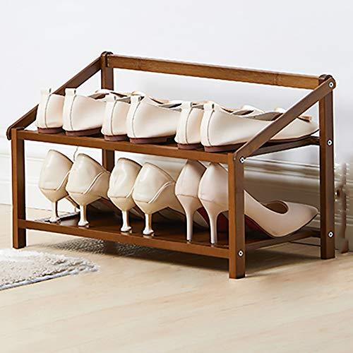 TIYKI 2-Nivel Bambú Estantes Plegables De Zapatos De Pie Libre,Estante De Zapatos Apilable Y Duradero,Organizador Ligero De Almacenamiento De Estantes De Zapatos para Entryway-Marrón 50x23.8x30cm