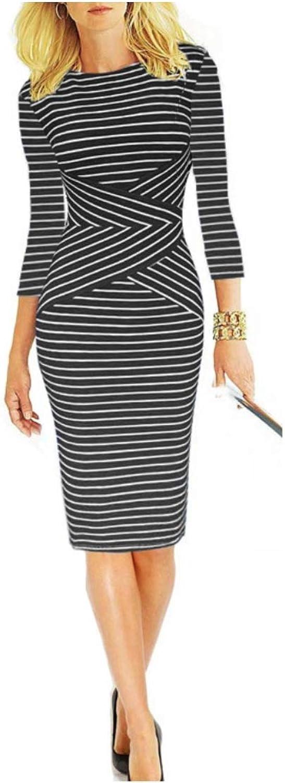 En Bonheur Women's 3 4 Sleeve Striped Wear for Work Business Pencil Dress Black