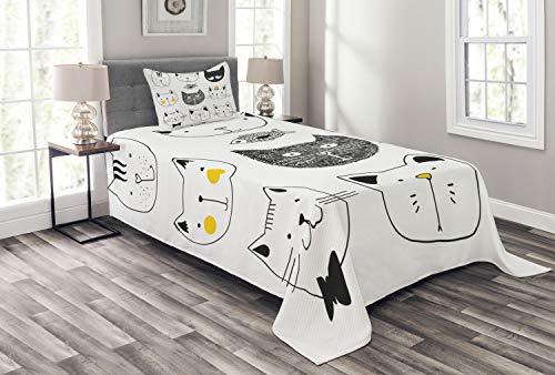 ABAKUHAUS Kat Bedsprei, Katten met Fish, Decoratieve Gewatteerde 2-delige Spreiset met 1 Kussensloop, 170 x 220 cm, geel Grijs