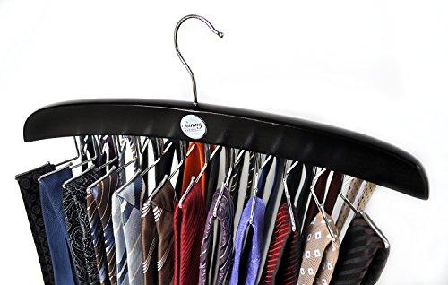 SUNNY SUNDAY ® Stropdashouder van FSC®-gecertificeerd hout - Premium garderobekledingshanger Gordelhouder, opbergruimte voor 24 stropdassen, sjaals, sjaals, zwart