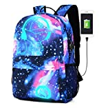 School Backpack, Kigos Galaxy School Backpack Anime Rucksack Cool Unisex Canvas Backpack Luminous Backpack Daypack Shoulder School Laptop Bag Backpack (Blue)