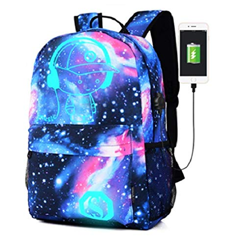 School Backpack, Kigos Galaxy School Backpack Anime Rucksack Cool Unisex Canvas Backpack Luminous Backpack Daypack Shoulder School Laptop Bag Backpack (Blue)