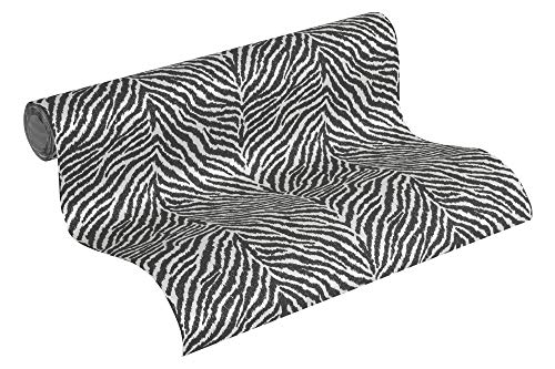 A.S. Création Vliestapete Trendwall Tapete im Zebra Print 10,05 m x 0,53 m schwarz weiß Made in Germany 371201 37120-1