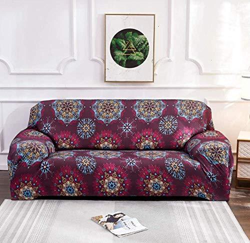 Funda para Sofá Elasticas 4 Plazas Patrón Rojo Universal Funda Cubre Sofas Ajustables,Antideslizante Protector Cubierta De Muebles con Cuerda