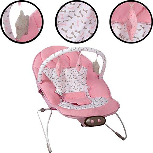 Babywippe/Babywiege/Babyschaukel (Inklusive Spielbogen mit 3 Figuren) + Vibrationsfunktion & Musikfunktion (12 Melodien) (PINK)