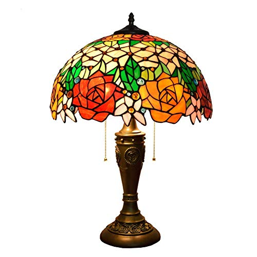 Busirsiz Rose lámpara de Mesa lámpara de Mesa Shade 16 Pulgadas Stained Glass Lámparas de Mesa de Habitaciones (40 cm) Vida de la lámpara lámpara de cabecera