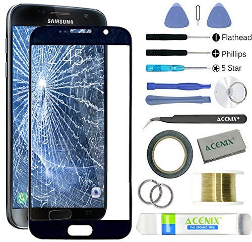 ACENIX® Voorste Glas Buitenste Scherm Vervangende Lens Reparatie Kit voor Samsung Galaxy S7 Zwart + 2mm Tape en Opening Pry Gereedschap