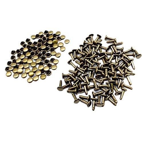 F Fityle 100 Piezas Remache Rápido Hebilla a Presión Pernos Botones Decorativos - Bronce, 6x10mm