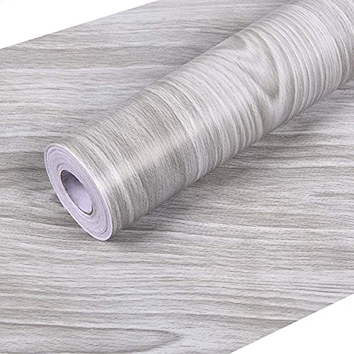 Grey Wood Grain Contact Paper 17.7 x 355 Inches Wallpaper, PVC Self Adhesive Peel and Stick Wallpaper, Easy to Clean Decorative Wall Covering