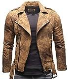 Crone Fynn Herren Biker Lederjacke Basic Echtleder Jacke mit Gürtel und Reverskragen (L, Vintage Braun (Wildleder))