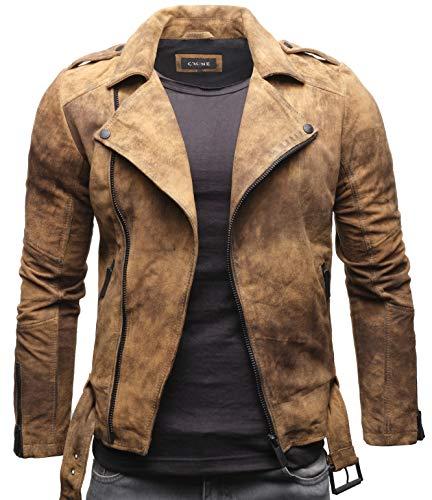Crone Fynn Herren Biker Lederjacke Basic Echtleder Jacke mit Gürtel und Reverskragen (S, Vintage Braun (Wildleder))