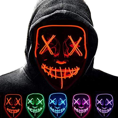 Halloween Purge Mask para Carnaval,LED Mscara Luminosa Terror y Diversin,3 Modos de Parpadeo Diferentes Controlables,para Hombres Mujeres con Nios Carnival Halloween Fiesta Cosplay Mascarada