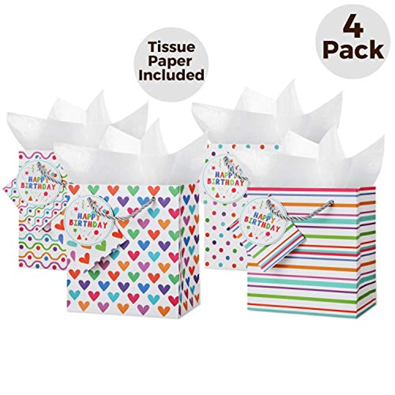 Small Gift Bags with Handles: (4 Pack) Assorted 4 Designs Gift Bags with Tissue Paper, Removable Card, Rope Style Handles, Gift Bags for Kids, Birthday Party Bags, Party Bags, Favor Bags, Small Gifts