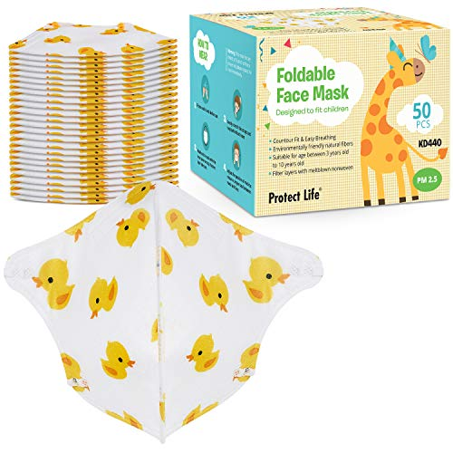 Kids Face Mask - 3 Filter Layers - Small Size Face Mask | 3-10 years Children Mask - 50 pack