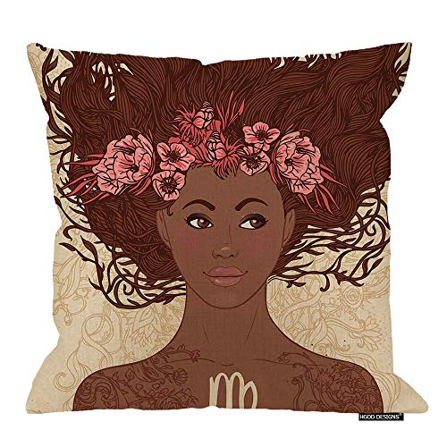 QUEMIN Girl Throw Pillow Cushion Cover,Zodiac Beautiful African American Version Girls Virgo Cotton Linen Polyester Decorative Home Decor Sofa Couch Desk Chair Bedroom 18x18inch