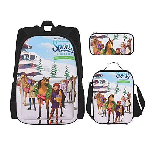 Sp_Irit Ri_Ding Fr_Ee - Juego de 3 piezas para niños y niñas, mochila escolar para adolescentes con bolsa de almuerzo aislada y estuche para lápices, Negro 7, Talla única