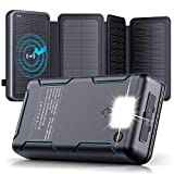 Solar Charger - 30000mAh Solar Power Bank with 4 Solar Panels - PD 18W Type C Fast Charge External Battery Pack, Portable Wireless Charger with 2 USB Port/LED Flashlight for Smart Phone, Tablets