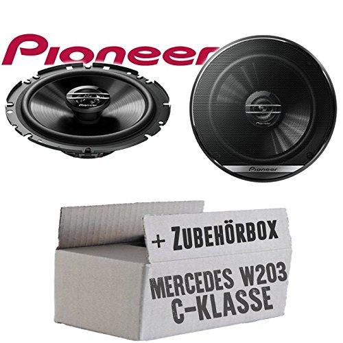 Lasse W203 Front - Lautsprecher Boxen Pioneer TS-G1720F - 16cm 2-Wege Koax Koaxiallautsprecher Auto Einbausatz - Einbauset für Mercedes C-Klasse JUST Sound Best Choice for caraudio
