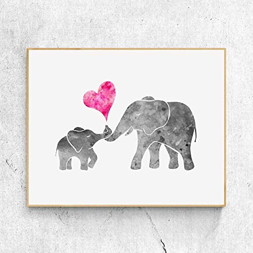 Watercolor Grey Baby Elephant with Mom Art Print Painting Wall Art Pink Love Heart Cute Picture Kids Room Decor Nursery 8x10 Inches No Frame