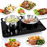 Dual 120V Electric Induction Cooker - 1800w Portable Digital Ceramic Countertop Double Burner Cooktop w/ Kids Safety Lock - Works w/ Stainless Steel Pan / Magnetic Cookware - NutriChef AZPKSTIND48