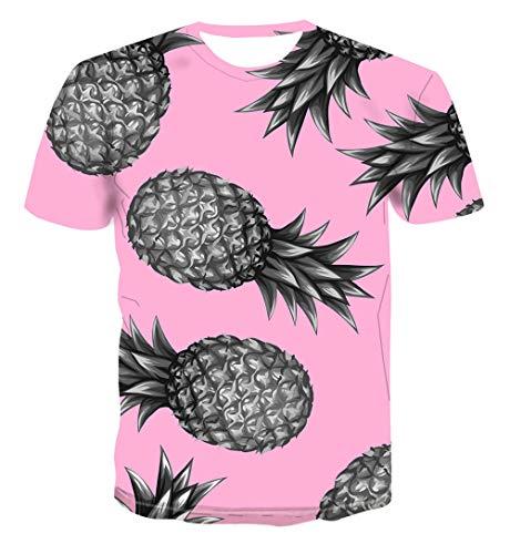 Heren 3D Printed Tops Tees Trend T-shirt met korte mouwen Grappige Jongens Mannen T-shirt met korte mouwen Top Tee Blouse Ananas Fruit Roze Hawaiian Beach T-Shirts