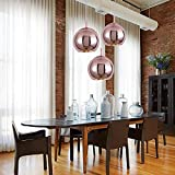 Mzithern Modern Mini Globe Pendant Lighting with Hand Blown Clear Glass, Adjustable Mirror Ball Hanging Ceiling Light for Kitchen Island Restaurants Hotels Shops, Polished Copper Rose Gold 8 Inch