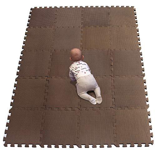 YIMINYUER Baby Spielmatte, Kinder eco schadstofffrei Krabbelmatte Extra dick Baby Schaumstoffmatte Nicht giftig Kinderteppich Braun R06G301020
