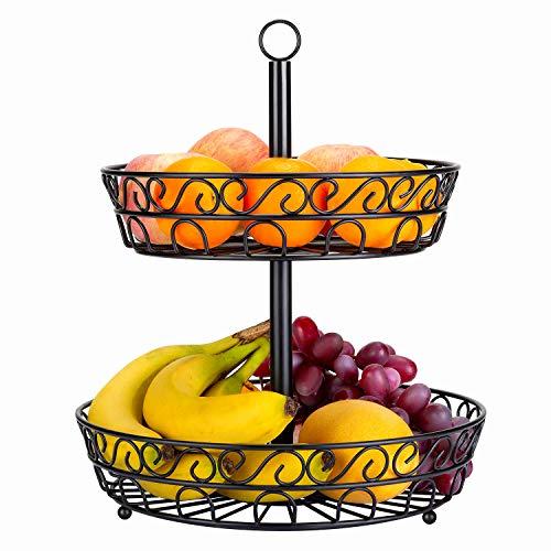 LOMOFI Obst Etagere 2-stöckig 30cm schwarz, mit 2 Obstschalen Metall für mehr Platz auf der Arbeitsplatte